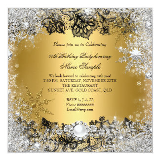 Elegant Gold Black Lace Silver Snowflake Birthday 13 Cm X 13 Cm Square Invitation Card