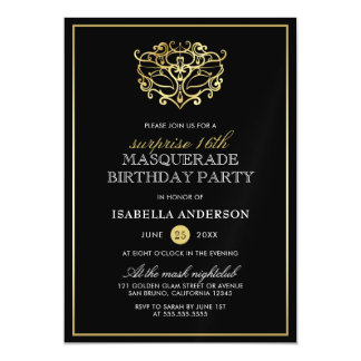 Elegant Gold & Black Masquerade Surprise Party Magnetic Card