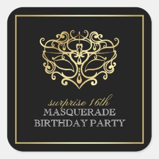 Elegant Gold & Black Masquerade Surprise Party Square Sticker