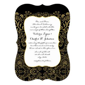 Elegant Gold Black Mehndi Bridal Design Pattern Card
