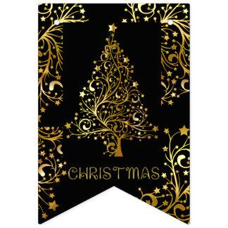 Elegant Gold Black Merry Christmas Tree Party Bunting