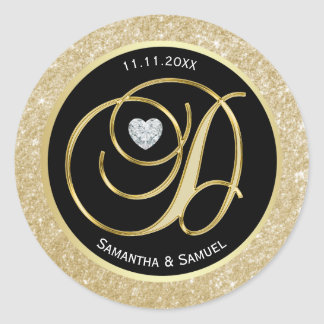 Elegant Gold Black Monogram Letter 'D' Wedding Classic Round Sticker