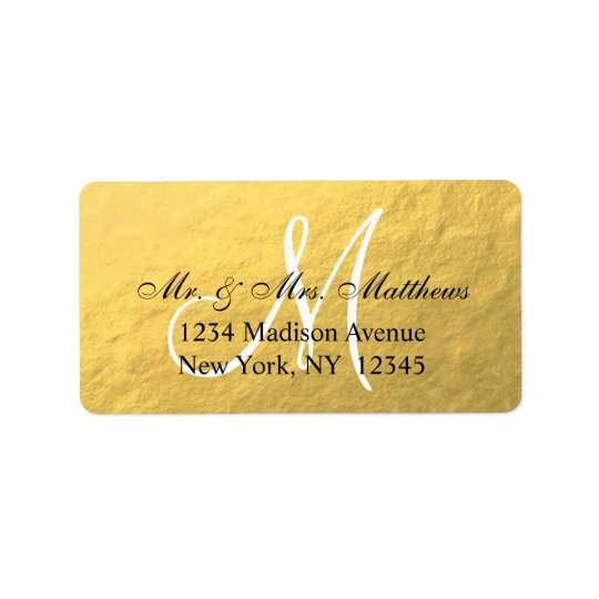 Elegant Gold Black Monogram Wedding Label