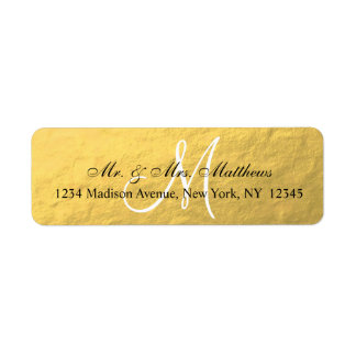 Elegant Gold Black Monogram Wedding Return Address Label