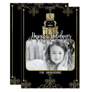 Elegant Gold Black Nutcracker Holiday Photo Card