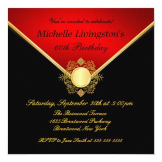Elegant Gold Black Red Filigree Emblem Invites