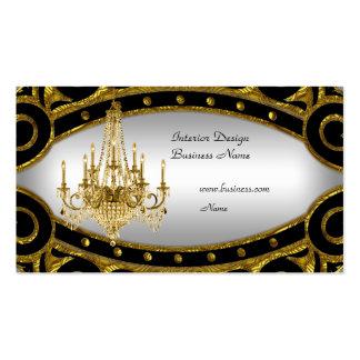 Elegant Gold Black Silver Chandelier Interior 2 Business Card