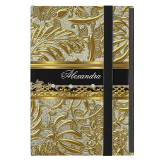 Elegant Gold Black Silver Damask Fashionable Cover For iPad Mini