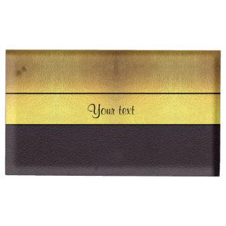 Elegant Gold & Black Table Card Holder