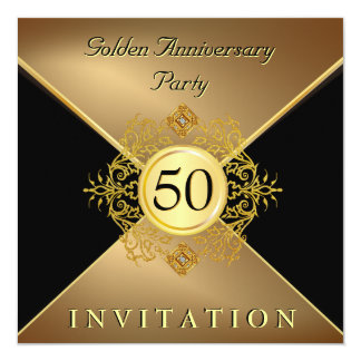 Elegant Gold Black Tie 50th Anniversary Invitation