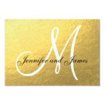 Elegant Gold Black Wedding RSVP Card with Monogram 9 Cm X 13 Cm Invitation Card