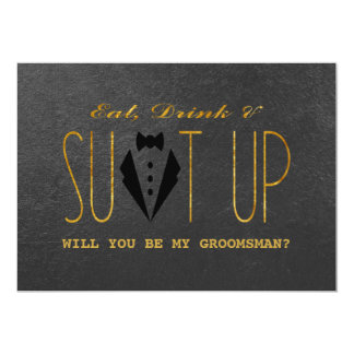 Elegant Gold & Black WILL YOU BE MY GROOMSMAN Card