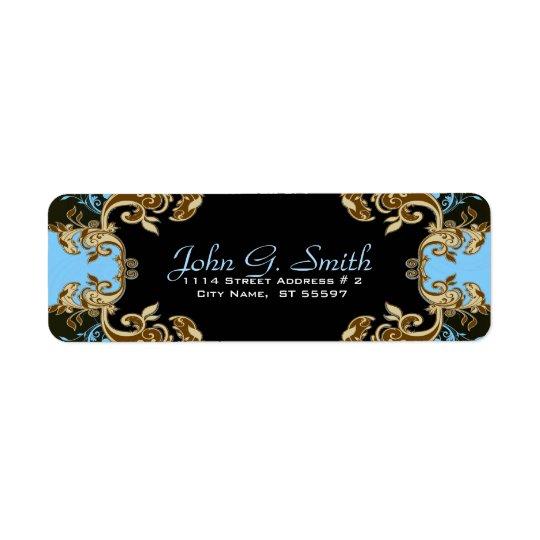 Elegant Gold Blue & Black  Vintage Floral Frame Return Address Label