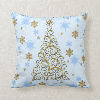 Elegant Gold Blue Swirls Christmas Holiday Pillow