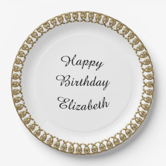 Elegant-Gold-Border-Party-Celebrations_Monogram Paper Plate