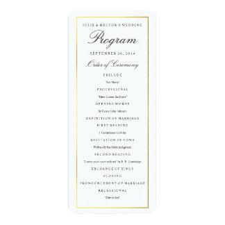 Elegant Gold Border Wedding Program Template 10 Cm X 24 Cm Invitation Card