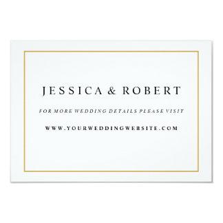 Elegant Gold Border Wedding Website Insert Card 9 Cm X 13 Cm Invitation Card