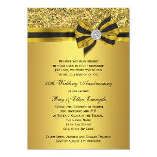 Elegant Gold Bow 50th Anniversary Party Card