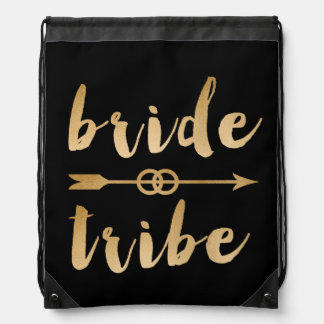 elegant gold bride tribe arrow wedding rings drawstring bag