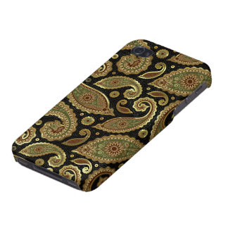 Elegant Gold Brown & Green Pastel  Vintage Paisley Cases For iPhone 4