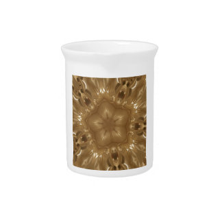 Elegant Gold Brown Kaleidoscope Star Design Pitcher