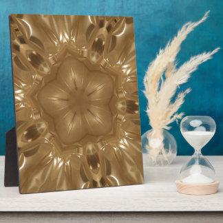 Elegant Gold Brown Kaleidoscope Star Design Plaque