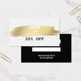 Elegant Gold Brush Stroke Makeup Artist Referral Business Card