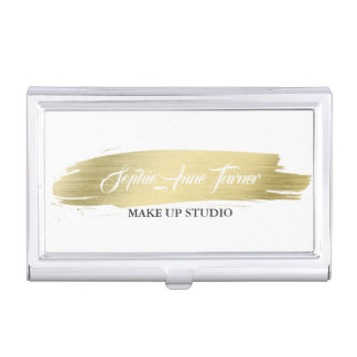 Elegant Gold Brush Stroke Profession Makeup Artist Business Card Holder