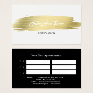 Elegant Gold Brush Stroke Professional Appointment Business Card