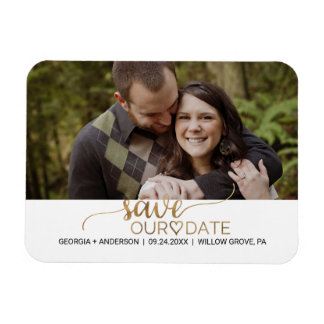 Elegant Gold Calligraphy Save the Date Photo Rectangular Photo Magnet