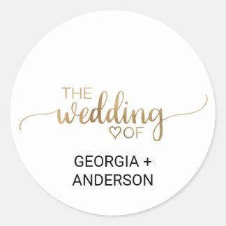 Elegant Gold Calligraphy Wedding Envelope Seal