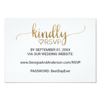 Elegant Gold Calligraphy Wedding Website RSVP Card