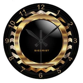 Elegant Gold Chevron Design Large Clock