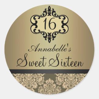 Elegant Gold Chic Damask Sweet 16 Sticker