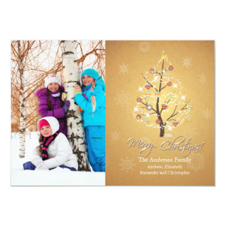 Elegant Gold Christmas Family Photo Holiday Card 13 Cm X 18 Cm Invitation Card