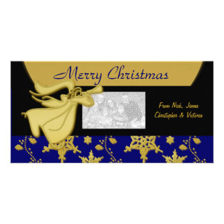 Elegant gold Christmas holiday greeting Picture Card