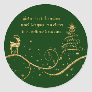 Elegant gold Christmas reindeer greetings wishes Classic Round Sticker