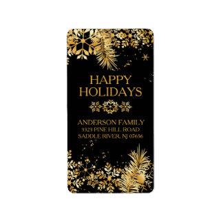 Elegant Gold Christmas Return Address Label