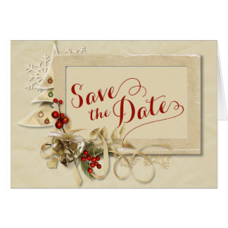 Elegant Gold Christmas  Save the Date Card