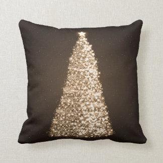 Elegant Gold Christmas Tree Brown Throw Cushion
