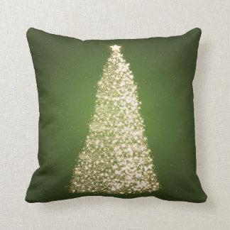 Elegant Gold Christmas Tree Green Throw Pillows