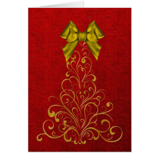 Elegant Gold Christmas Tree Greeting Card
