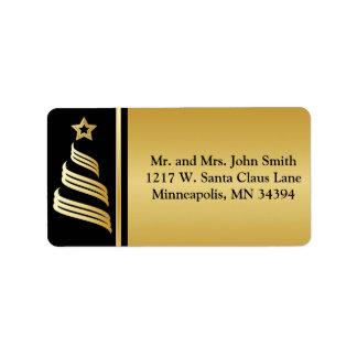 Elegant Gold Christmas Tree Address Label