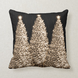 Elegant Gold Christmas Trees Black Pillow