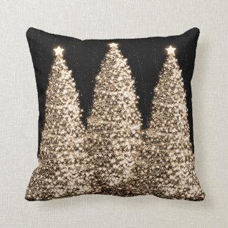 Elegant Gold Christmas Trees Black Cushions