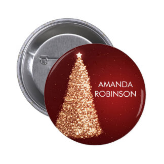 Elegant Gold Christmas Trees Red Pin
