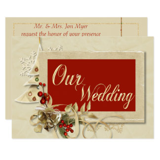 Elegant Gold Christmas Wedding Invitation