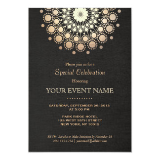 Elegant Gold Circle Motif Black Linen Look Formal 13 Cm X 18 Cm Invitation Card