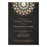 Elegant Gold Circle Motif Black Linen Look Formal Announcements