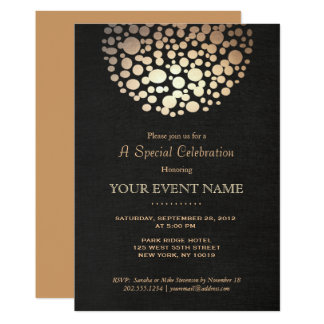 Elegant Gold Circle Sphere Black Linen Look Formal 13 Cm X 18 Cm Invitation Card